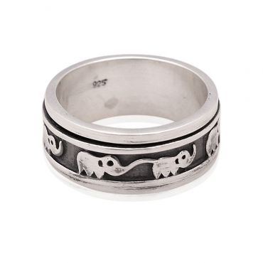 Sterling Silver Elephant Spinner Ring