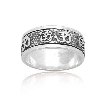 Sterling Silver Om Spinner Ring
