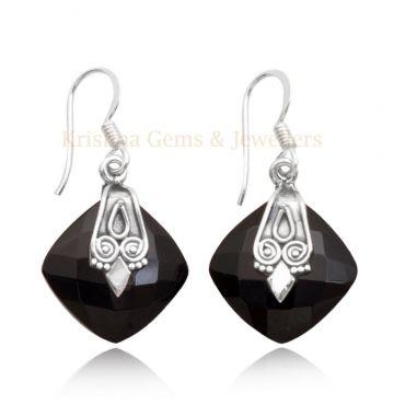 Sterling Silver 15mm Cushion Shape Black Onyx Drop Earring