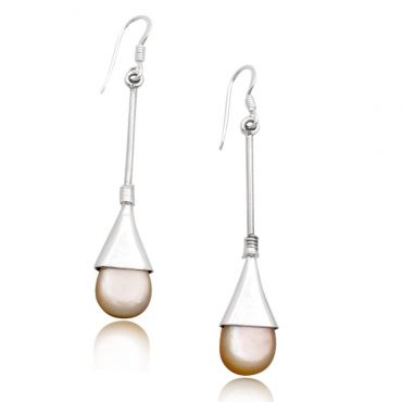 Sterling Silver 10*14mm Drop Shape Mother of Pearl Drop Earring