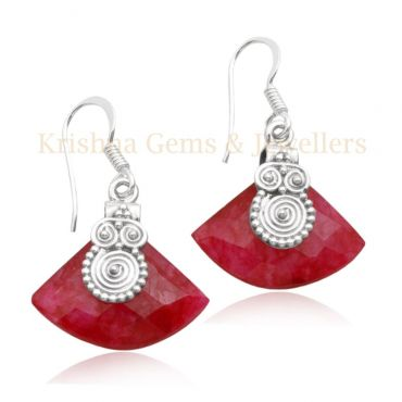 Sterling Silver Fancy Shape Indian Ruby Drop Earring