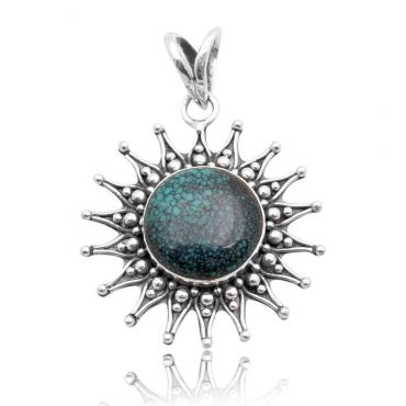 Sterling Silver 15mm Round Shape Natural Turquoise Pendant
