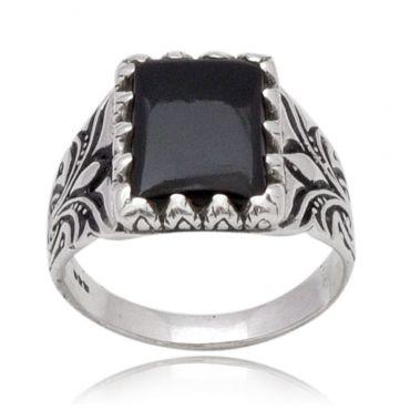 Adorable Black Onyx 12*16 Octo Turkey Ring