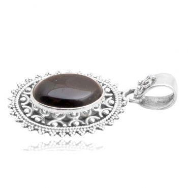 Sterling Silver 12*16mm Oval Shape Black onyx Pendant
