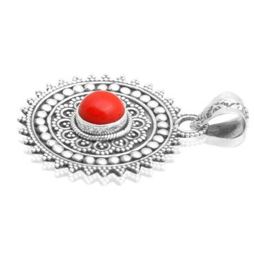 Sterling Silver 7mm Round Shape Indian Coral Pendant