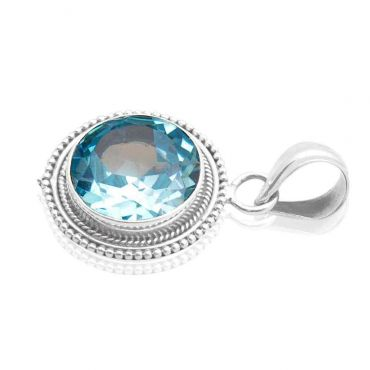 Sterling Silver 17mm Round Shape Blue Topaz CZ Pendant