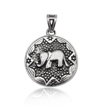 Sterling Silver Symbolic Elephant Pendent