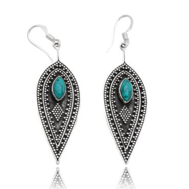 Sterling Silver 4*8mm Marquise Shape Turquoise Divine Earring