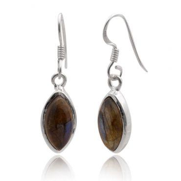 Sterling Silver 9*18 Marquise Shape Labradorite Drop Earring