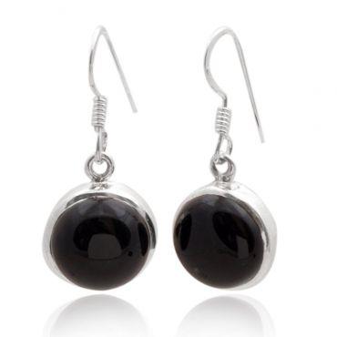 Sterling Silver 15mm Round Shape Black Onyx Drop Earring