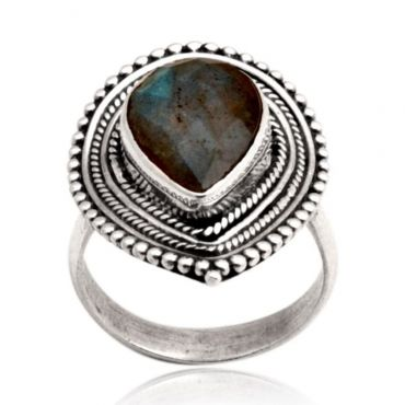 Sterling Silver 10*14mm Drop Shape Labradorite Ring