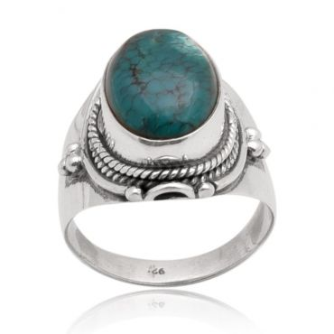 Sterling Silver 12*16mm Oval Shape Turquoise Ring