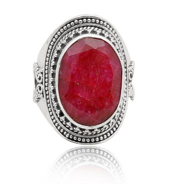 Sterling Silver 13*18 Oval Shape Indian Ruby Ring