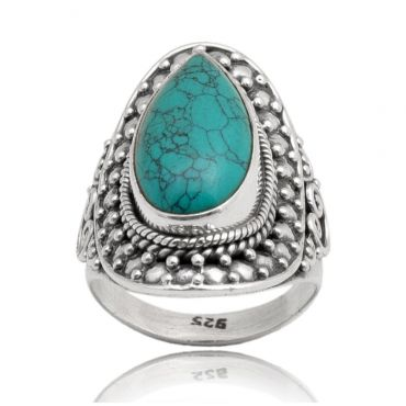 Sterling Silver 12*16 Drop Shape Turquoise Ring