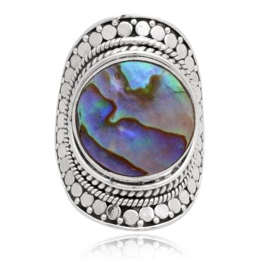 Sterling Silver 14mm Round Shape Abalone Ring