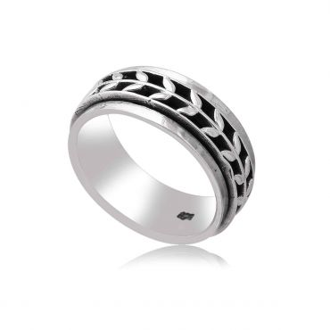 Sterling Silver Plant Spinner Ring